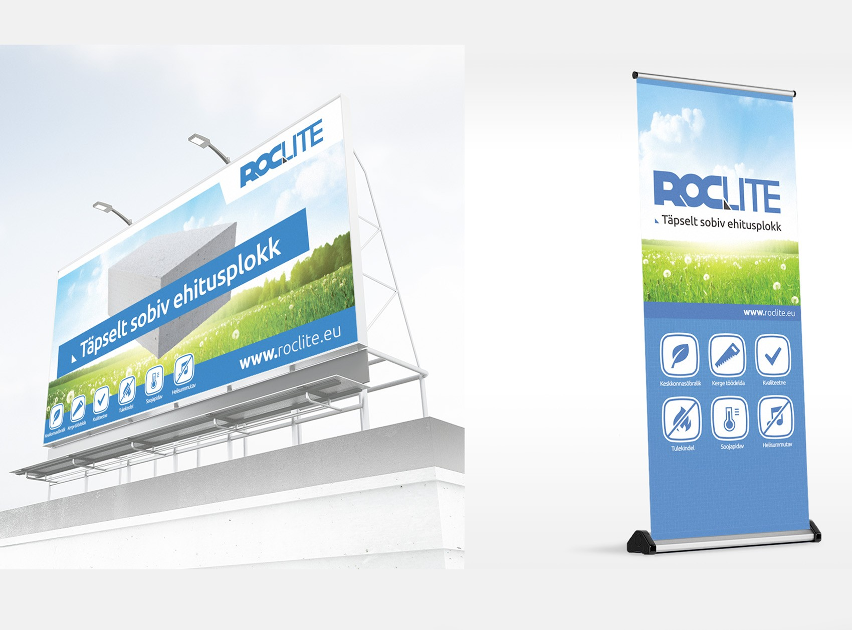 Outdoor ad and roll-up: Roclite