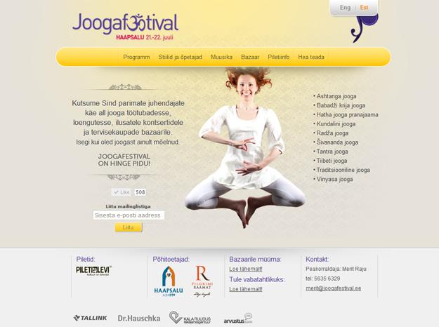 Joogafestivali veebilehekülje disain