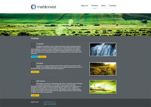 Marble Invest veebilehtede loomine