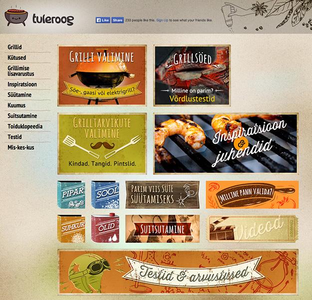 Tuleroog grillimine veebilehtede valmistamine